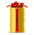 Stack of coins with a red bow concept of pecuniary vector