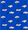 Drawn seamless pattern with clouds and stars vector