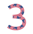 Number 3 made of usa flags on white background vector