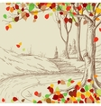 Autumn tree in the park sketch bright leaves vector