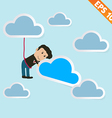 Cartoon business man with cloud computing - vector