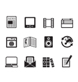 Silhouette media and information icons vector