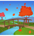 Autumn landscape with bridge vector