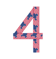 Number 4 made of usa flags on white background vector
