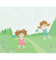 Sweet little girls with flowers play in park vector