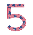 Number 5 made of usa flags on white background vector