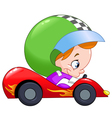 Kid race car driver vector