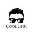 Cool geek logo template vector