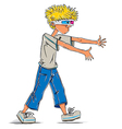 Funny teen boy wearing 3d glasses vector