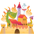 Cartoon dragon is siting in the castle in fire vector