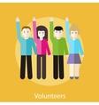 Volunteer group raising hands vector