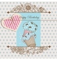 Birthday card or baby shower template vector
