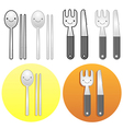Diverse styles of fork and knife sets vector