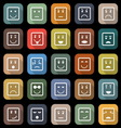 Square face flat icons with long shadow vector