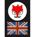 Hipster fox with the flag of grait britain vector