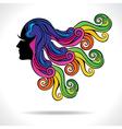 Abstract colorful hair fashion girl vector
