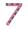 Number 7 made of usa flags on white background vector