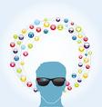 Social network smart glasses vector