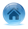 3d glass sphere home icon vector