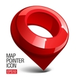 Shiny gloss red map pointer icon vector