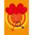 Two gender sign with three hearts vector