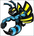 Wasp ninja hornet vector