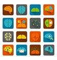 Brain icons flat set vector