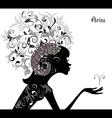 Zodiac sign aries fashion girl vector
