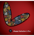 Valentine day card with floral heart vector