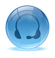 Blue abstract 3d headset icon vector