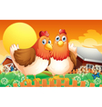 A farm with two hens above the fence vector