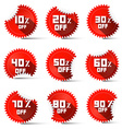 Ten to ninety percent off red labels vector