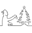 Man decorating christmas tree vector
