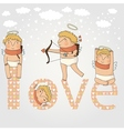 Card for valentine day with cute cupids in vector