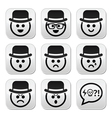 Man in hat faces buttons set vector