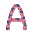 Letter a made of usa flags vector