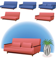Sofa pink and blue vector