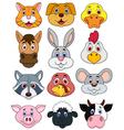 Animal head cartoon set vector