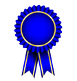 Blue badge with ribbon vector