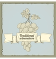 Vintage wine label with grapes vector
