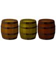 Three wooden barrels vector