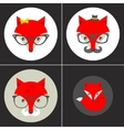 Set of cute seamless patterns with hipster fox vector