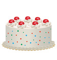 Cream cake with cherries vector