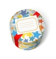 Party present box with stars and red ribbon vector