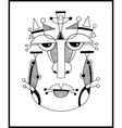 Unusual hand draw with a male face portrait in vector