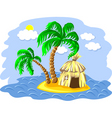 Wo palm trees and hut on an is vector