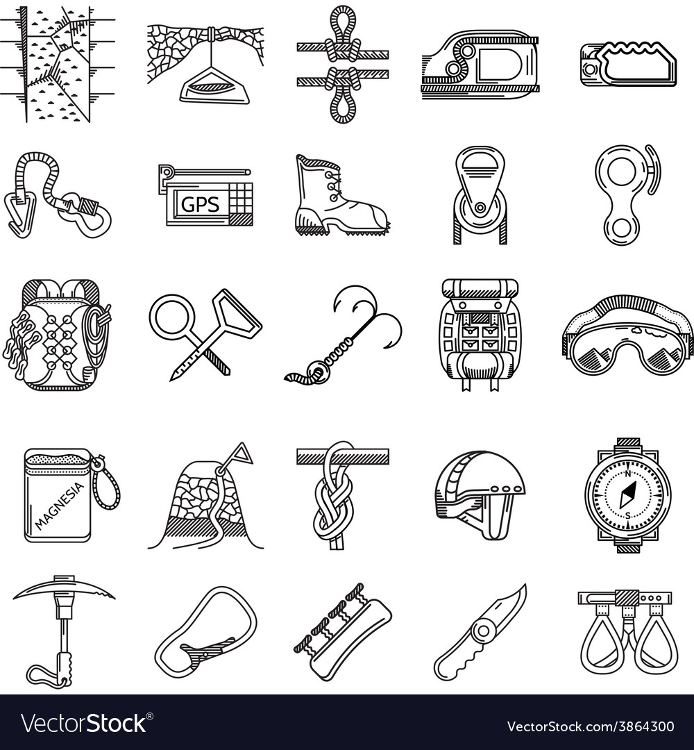 Black icons collection for rock climbing vector | Price: 1 Credit (USD $1)