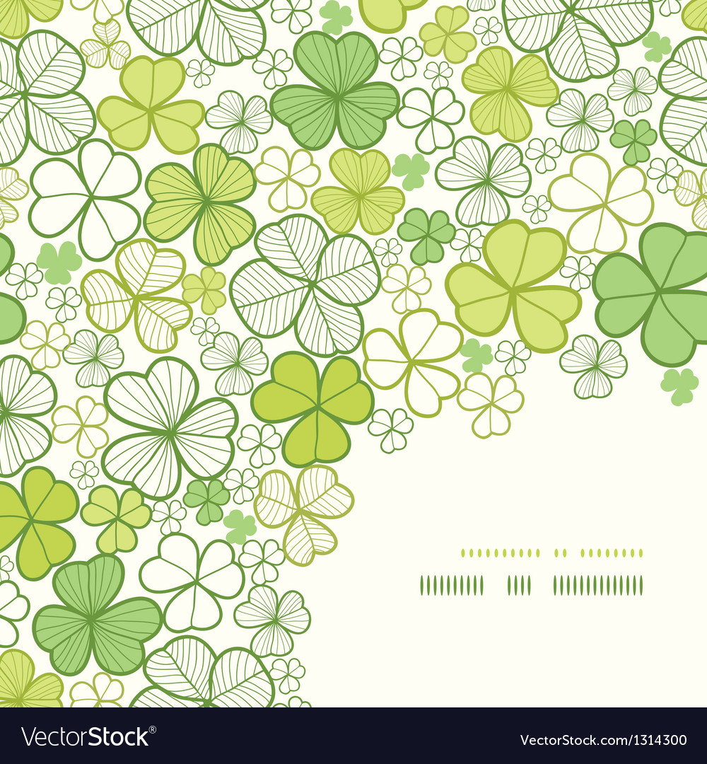 Clover line art corner decor seamless pattern vector | Price: 1 Credit (USD $1)