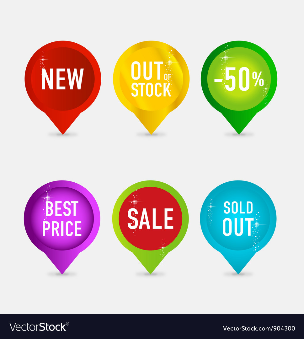 Creative and elegance web pins symbols vector | Price: 1 Credit (USD $1)