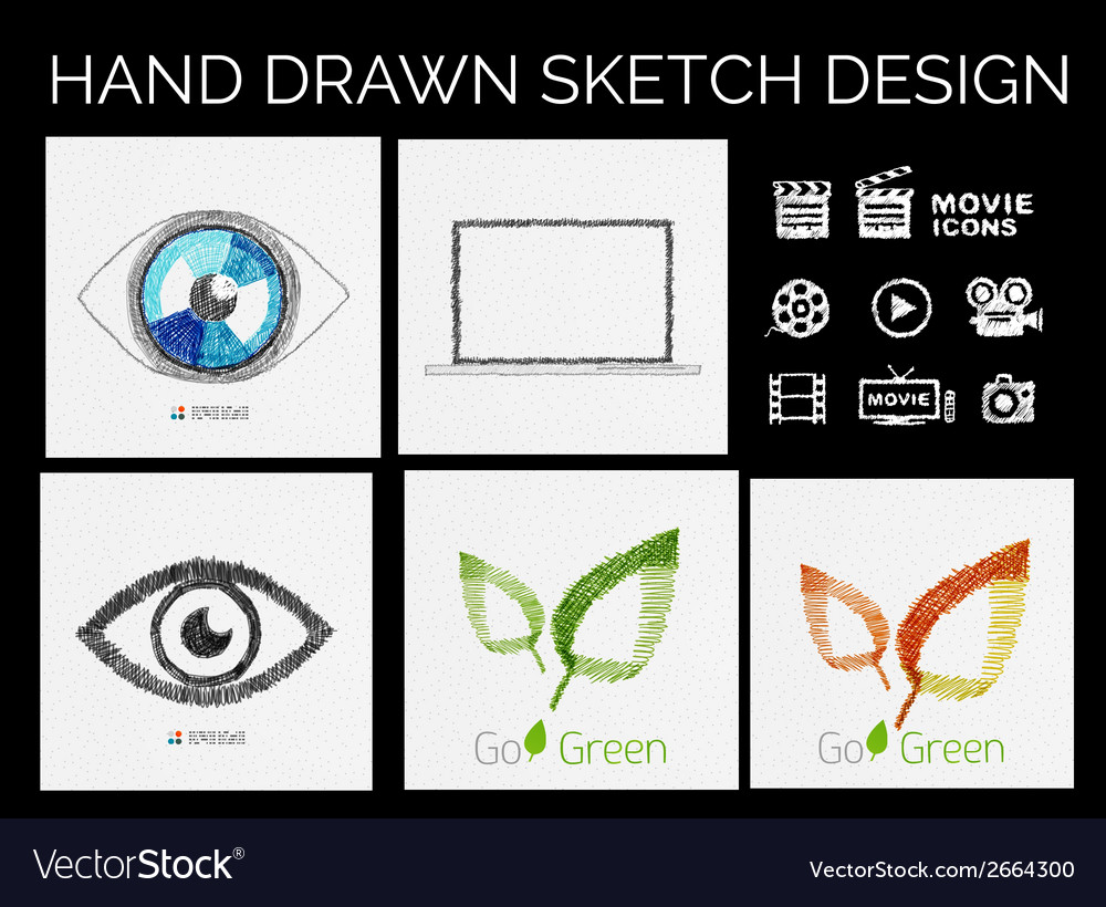Drawn sketch designs vector | Price: 1 Credit (USD $1)